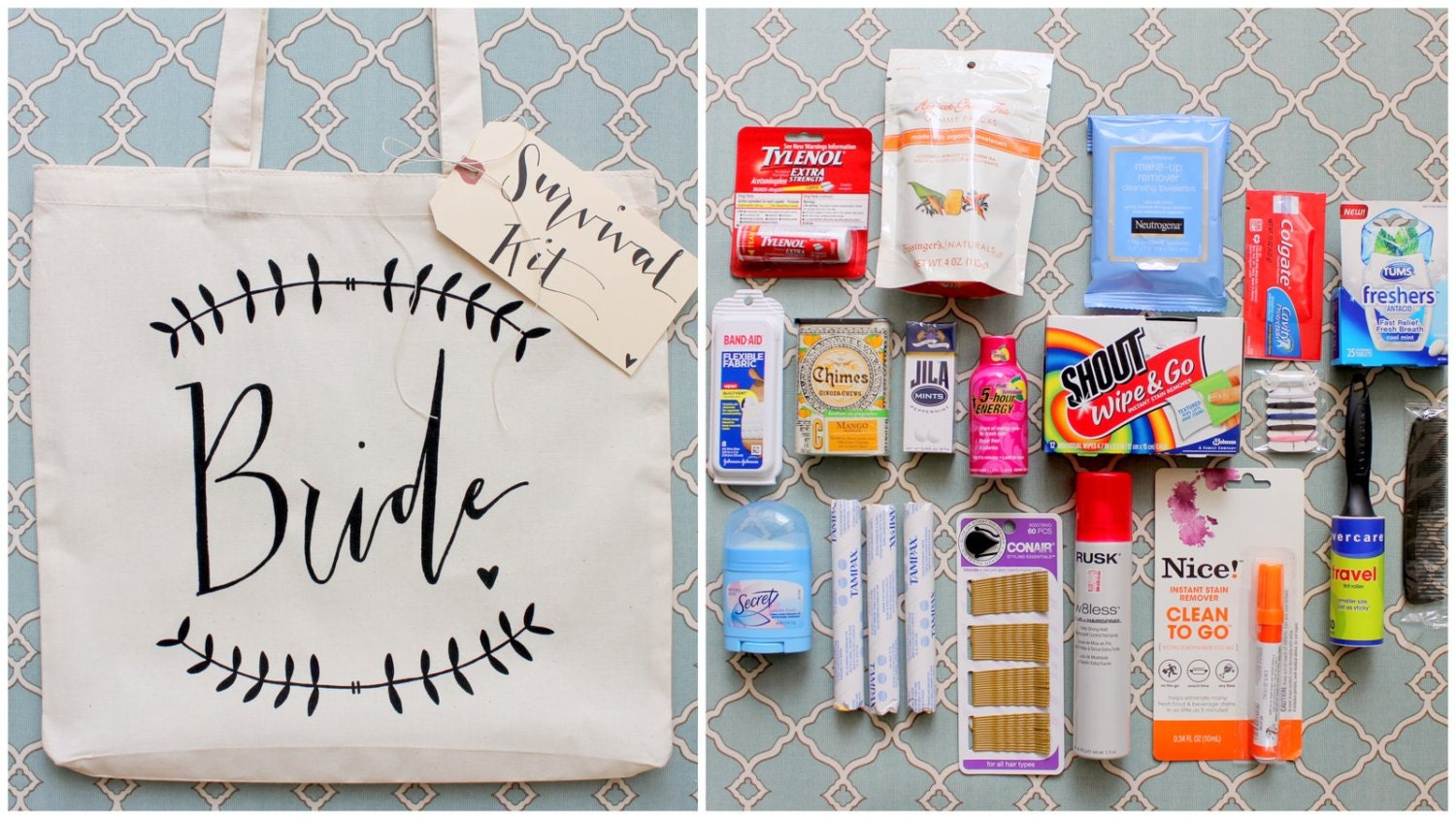 Wedding Day Bride Gift: Wedding Day Survival Kit DIY Bridal Shower Gift By DreamState