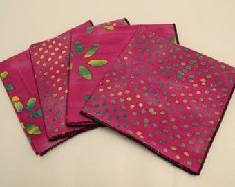 Lunchbox  Napkins Set of  4   Re Usable Eco Friendy Hand Made in the USA  Premium Quality Hand Made