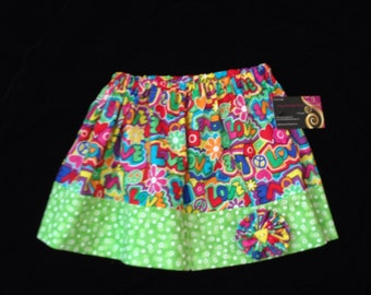 Girls skirt Love and flowers with hair clip set. hand made ready to ship sz 3 T