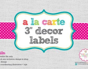 "A La Carte DECOR STICKERS - 3"" Round - DIY Digital Printable File"