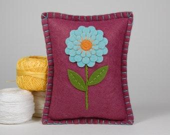 Flower Pincushion • Blue Dahlia on Plum Wool Felt • Hand Embroidered • Pin Pillow
