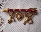 Vintage Florenza Valentines Day Arrow Dangle Brooch Cherub Heart Dove Charms