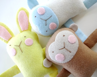Bunny, Sheep & Monkey Felt Softies Sewing Pattern - PDF ePATTERN