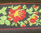 Floral embroidered trim with red flower