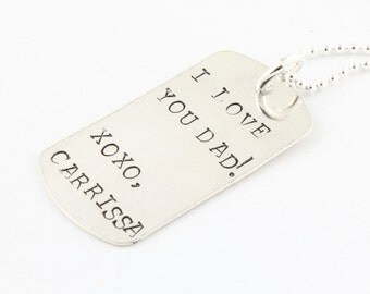 Personalized Dog Tag Necklace - Sterling Silver Father's Day Gift - Custom Dogtag Men's Necklace - Handstamped Man's Necklace - Husband Gift