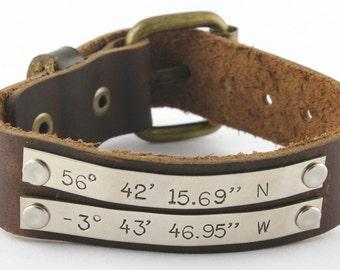 Brown Leather Bracelet - Black Leather Bracelet - Coordinates Bracelet - Custom Personalized Bracelet - Father's Day Gift for Dad