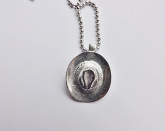 Cowboy Hat Charm Necklace silver pewter leather or chain USA-made lead-free