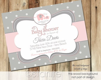 Girl Baby Shower Elephant Baby Shower Invitation, Pink + Gray Polka Dot Baby Shower Invitation Girl, Girl Baby Shower Elephant Invitation