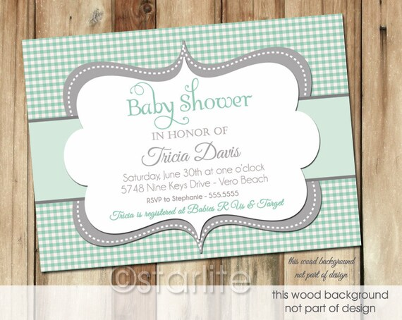 gender neutral baby shower invitation mint green gingham gray grey