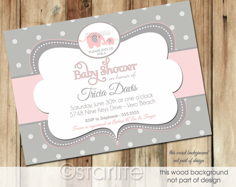 Starlite Printables Invitations + Stationery: Unique Elephant Baby ...