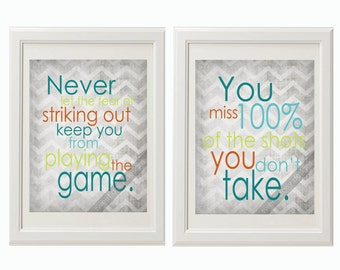 Sport Quotes, PRINTABLE Wall Art Set of 2 Sport Quotes