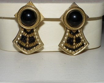 Black and Gold Opulent Earrings
