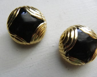 Black and Gold Round Clip-onEarrings