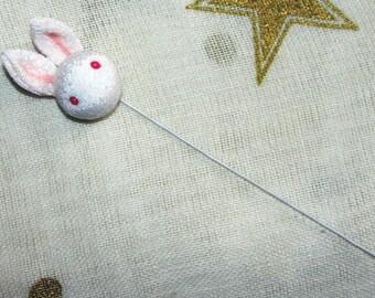 Kanzashi Japanese Handmade Crepe Fabric Bunny Rabbit on Wire for Handicrafting Kanzashi Hair Ornament