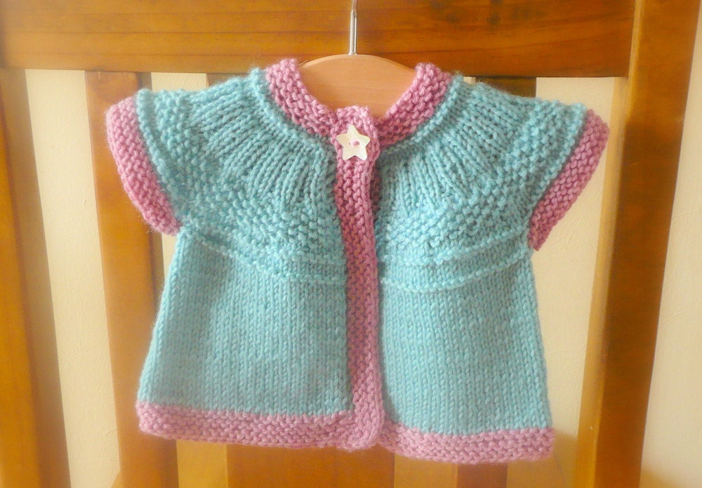 Knitting Pattern Cardigan Seamless Top Down Baby Girl
