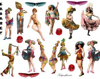 Cabaret Digital Collage Sheet Mixed Media Altered Art Instant Digital Download
