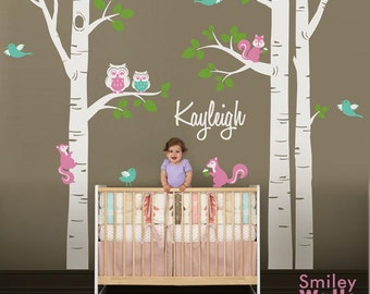 Nursery Wall Decal Birch Trees Wall Decal Forest Animals Wall Decal Kids Personalized Wall Decal Owsl Squirrels Birds Baby Room Art Decor