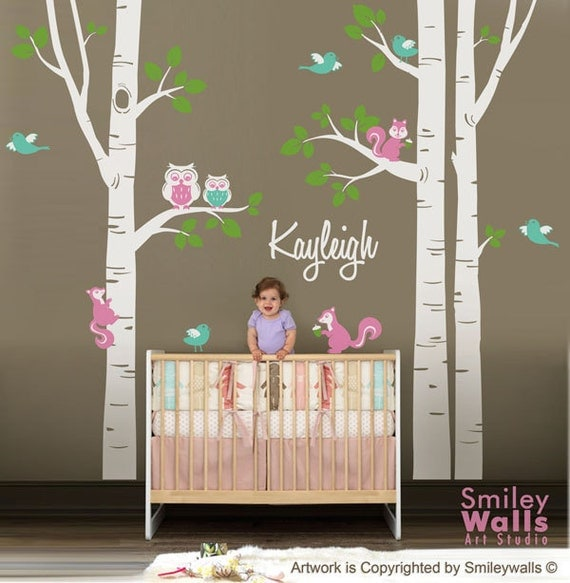 Nursery Wall Decal Birch Trees Wall Decal Forest Animals Wall