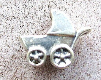 STERLING,  SILVER,  CHARM, Baby, Stroller, Buggy, Newborn, Infant, Mother, Shower