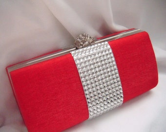 Red Satin Bling Clutch - New Year's Eve - Evening Clutch - Minaudiere - Rhinestone Clutch - prom clutch - ready to ship - box clutch - purse