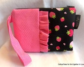 Girl's Ruffled Wristlet Clutch Size Small Strawberries at Midnight