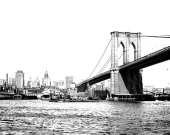 Black and white photography art print ... Brooklyn Bridge -- Signed 8 x 10 Giclee from my original painting