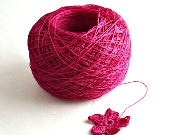 Crochet Thread 3 Ply Linen Thread Dark Fuchsia Linen Yarn Natural Fiber Tatting Thread Specialty Thread