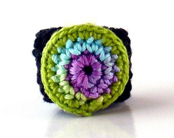 Crochet Ring Fiber Ring  Circle Design Pastel Rainbow Pale Purple Green Yellow Rose