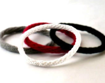 Crochet Bracelet Fiber Bracelet  Bangle Fine Thread Icord White Robe Bracelet Stackable Bracelet