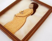 "NeedleFelted Tapestry - "" She is Expecting "" - Mothers day - Wool Needle Felted Painting - Pregnant Woman - Art -Made to order"