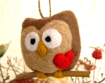 Needle Felted Owl Ornament - Wool Hoot Love Heart - Mothers Day - Valentine