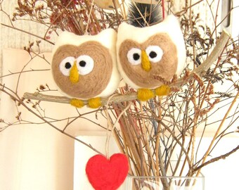 NeedleFelted Couple Owls Ornament - Wool Hoot Love Heart - Valentine