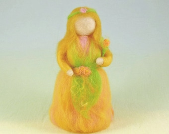 Summer Flower Wool Doll Needle Felted Puppet