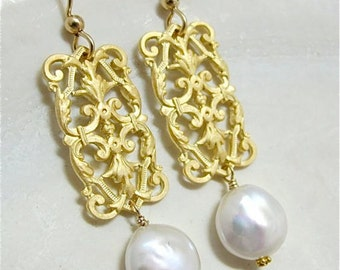Gold chandelier vintage filigree earrings with real freshwater pearl drops VERSAILLES