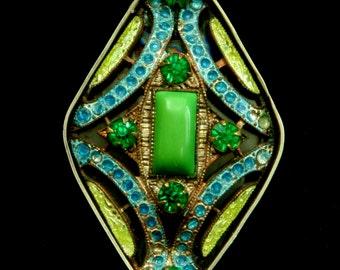 Czech Art Deco Enameled Brooch Ring