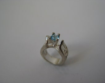 Sterling Silver Ring Charm Blue Stone Vintage 925