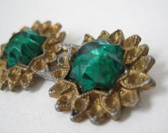 Shabby Flower Green Brooch Gold Rhinestone Vintage Pin