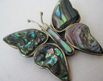 Butterfly Abalone Colorful Brooch Silver Green Vintage Pin