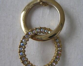Gold Aurora Circle Necklace Rhinestone Vintage