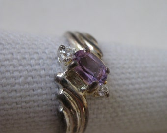 Amethyst Clear Ring Sterling Silver Stone Size 8 1/4 Vintage 925