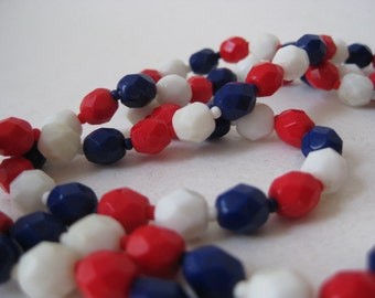 Red White Blue Glass Necklace Vintage