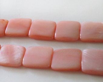 14mm Light Pink Square Shell Strand