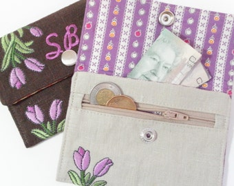 In-the-Hoop Wallets Machine Embroidery Designs sc071d and In-the-Hoop Wallet and Change Purse Sewing Directions in PDF