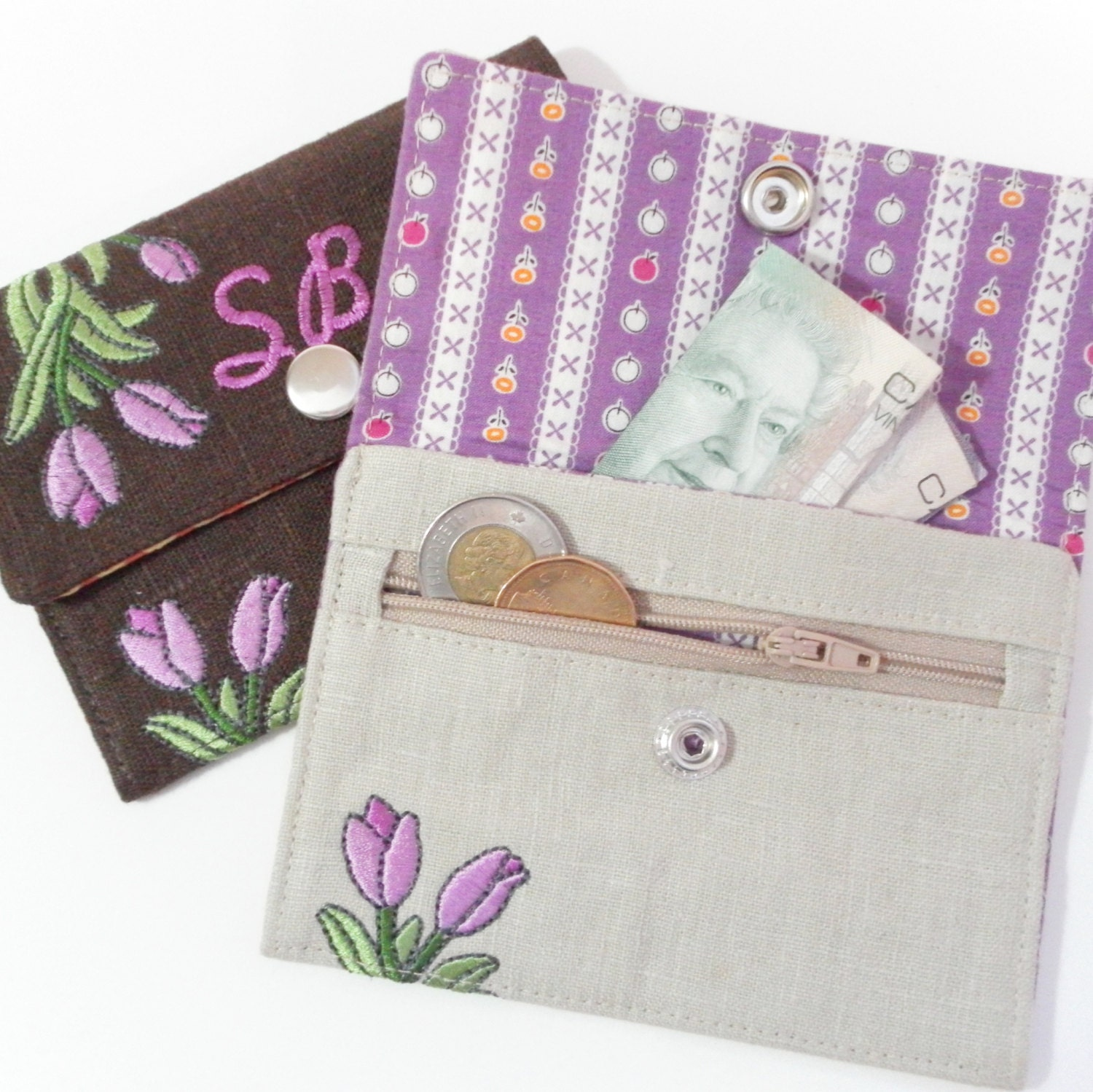 In-the-Hoop Wallets Machine Embroidery Designs sc071d and In-the-Hoop Wallet and Change Purse