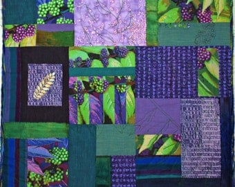 Fiber Art Quilt Greens and Purple Wall Hanging Quilt