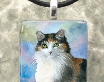 Glass Pendant 1x1 Jewelry Necklace Cat 572 Calico from art painting by L.Dumas