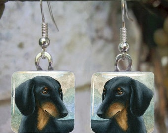 Art Glass Earrings Dog 90 Dachshund Jewelry painting by L.Dumas