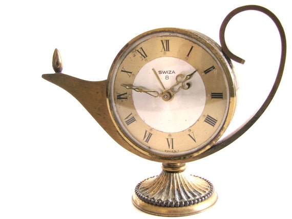 Vintage Alarm Clock Swiza 8 Aladdins Genie Lamp