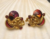 Vintage Earrings Red Rivoli Stone Enamel E5135