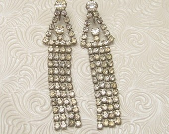 Long Rhinestone Earrings Vintage Shoulder Dusters E5309